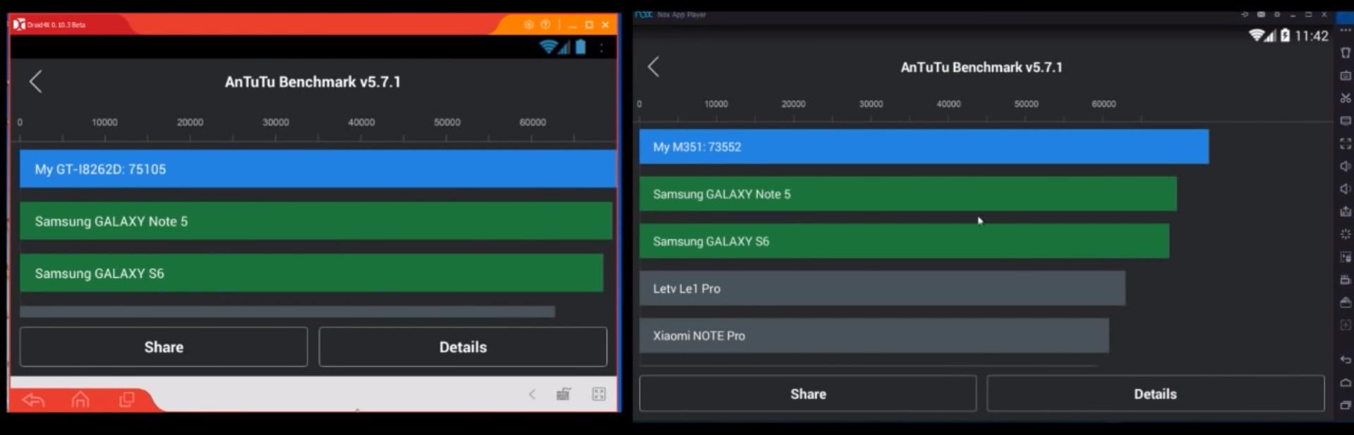 So sánh giữa Droid4X và Nox Player